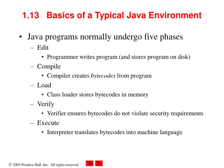 1.13   Basics of a Typical Java Environment