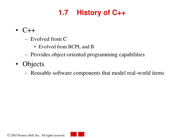 1.7  History of C++