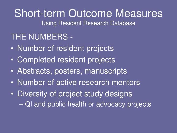 Short-term Outcome Measures
