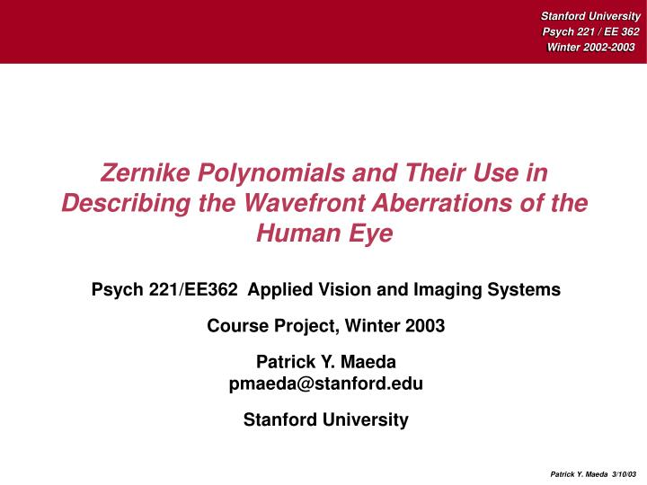 zernike polynomials and their use in describing the wavefront aberrations of the human eye n.