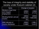 the loss of integrity and stability of society under koizumi cabinet 2