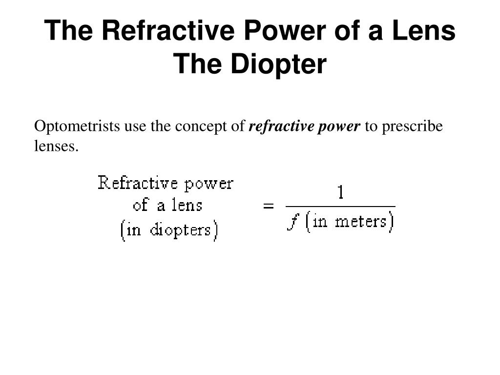 The Refractive Power of a Lens