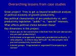 overarching lessons from case studies