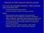 reasons to look beyond interest groups