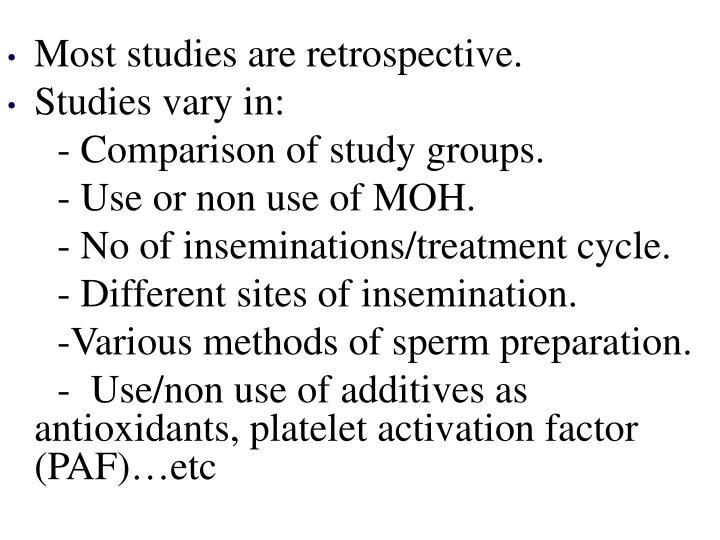 Most studies are retrospective.