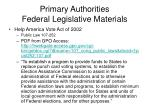 primary authorities federal legislative materials12