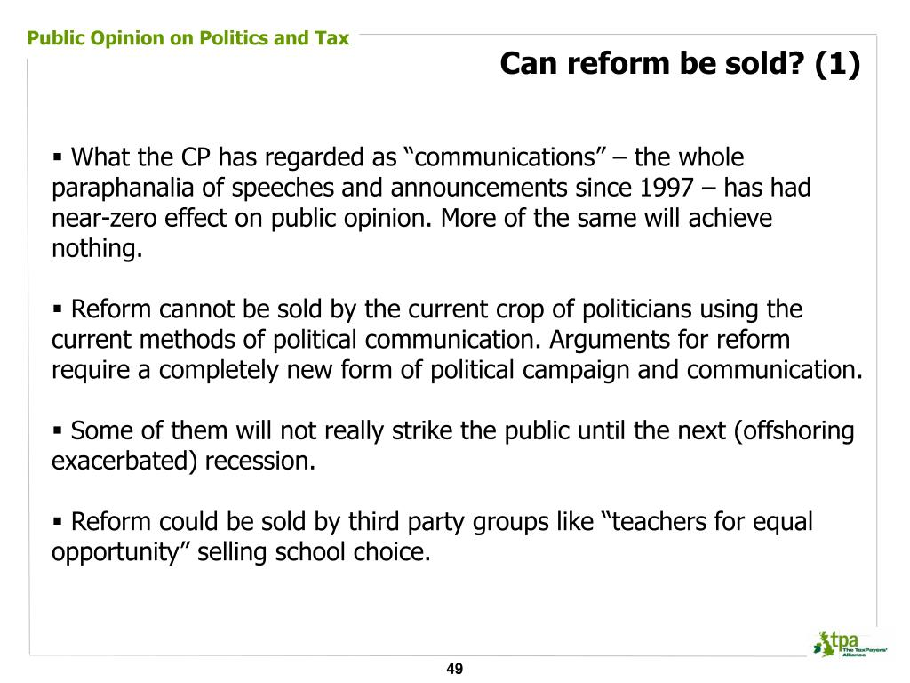 Public Opinion on Politics and Tax