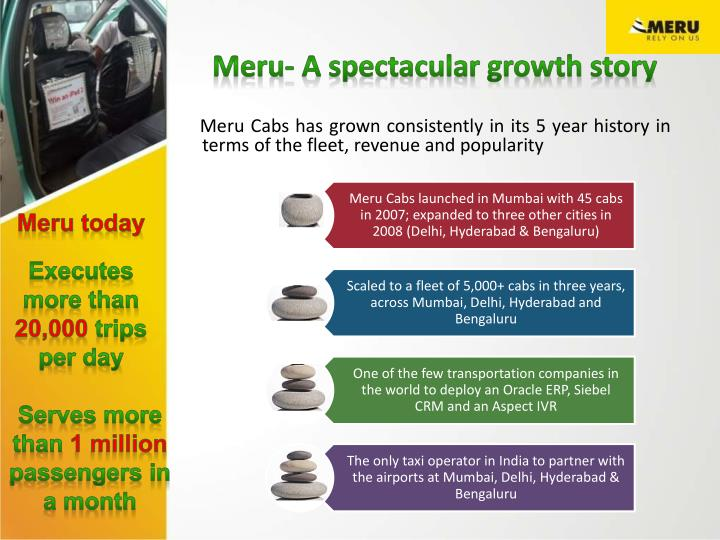 meru cabs a spectacular growth story essay Strategy map- meru cabs: a spectacular growth story case study group-6 presentation 19 th august 2014 about meru cabs • meru cabs, operating in four metros of the country has popularised and.