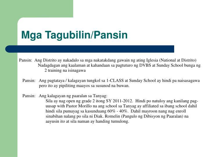Mga Tagubilin/Pansin
