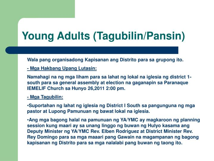 Young Adults (Tagubilin/Pansin)