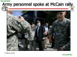 army personnel spoke at mccain rally