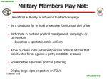 military members may not