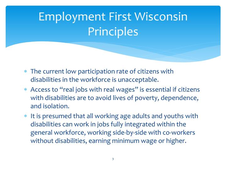 Employment first wisconsin principles