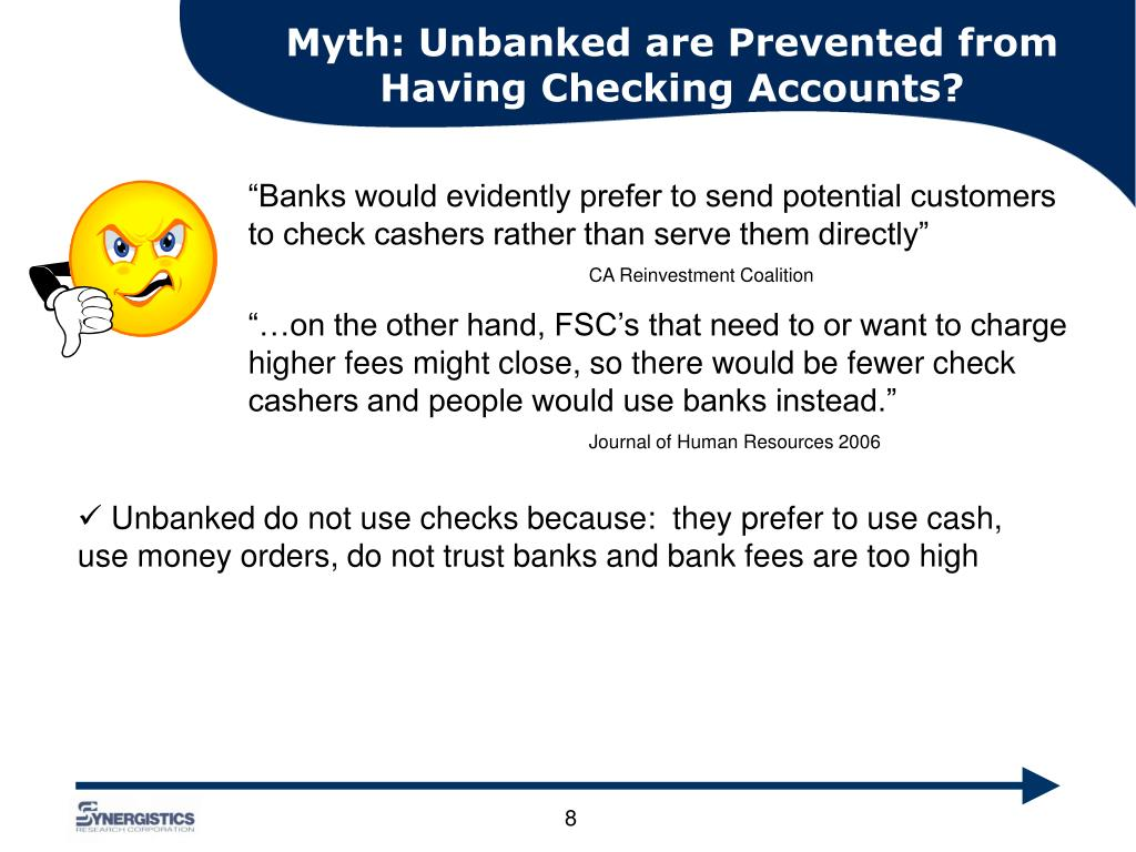 Myth: Unbanked are Prevented from Having Checking Accounts?