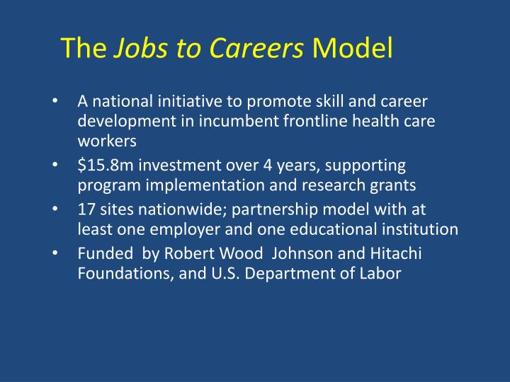 The jobs to careers model