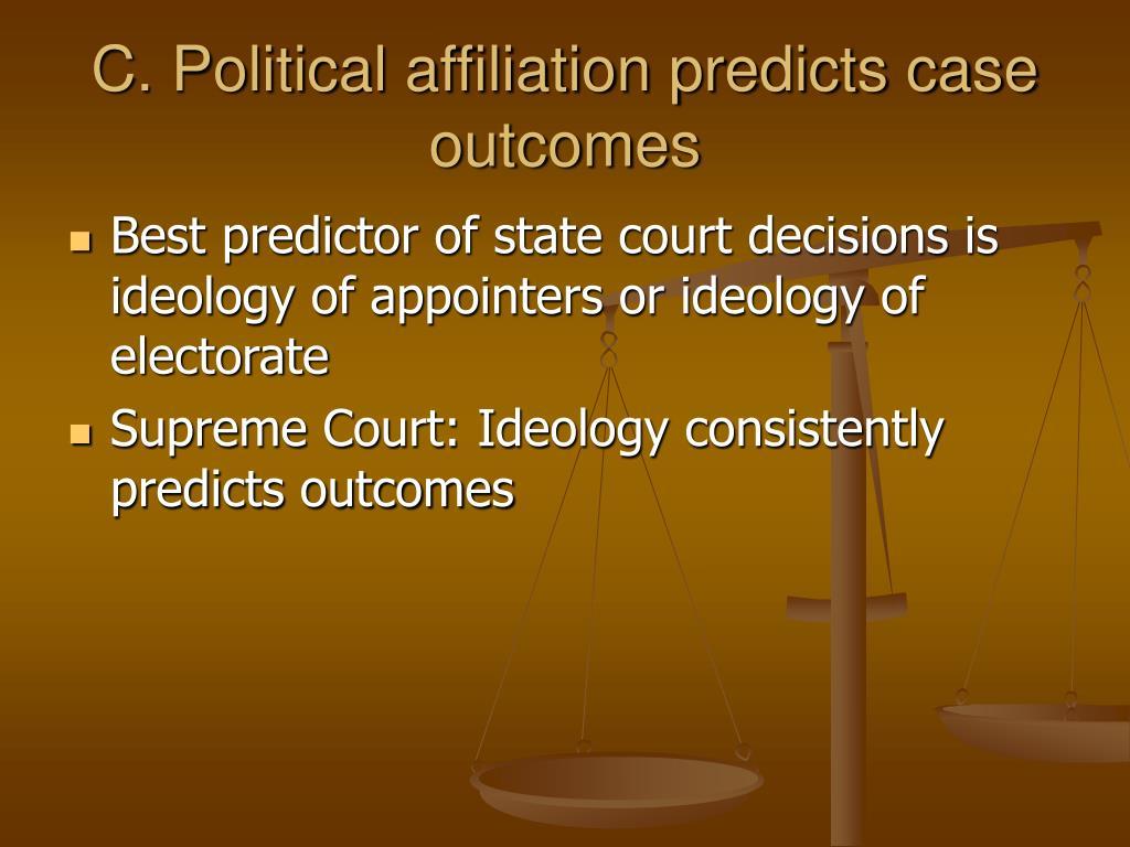 C. Political affiliation predicts case outcomes