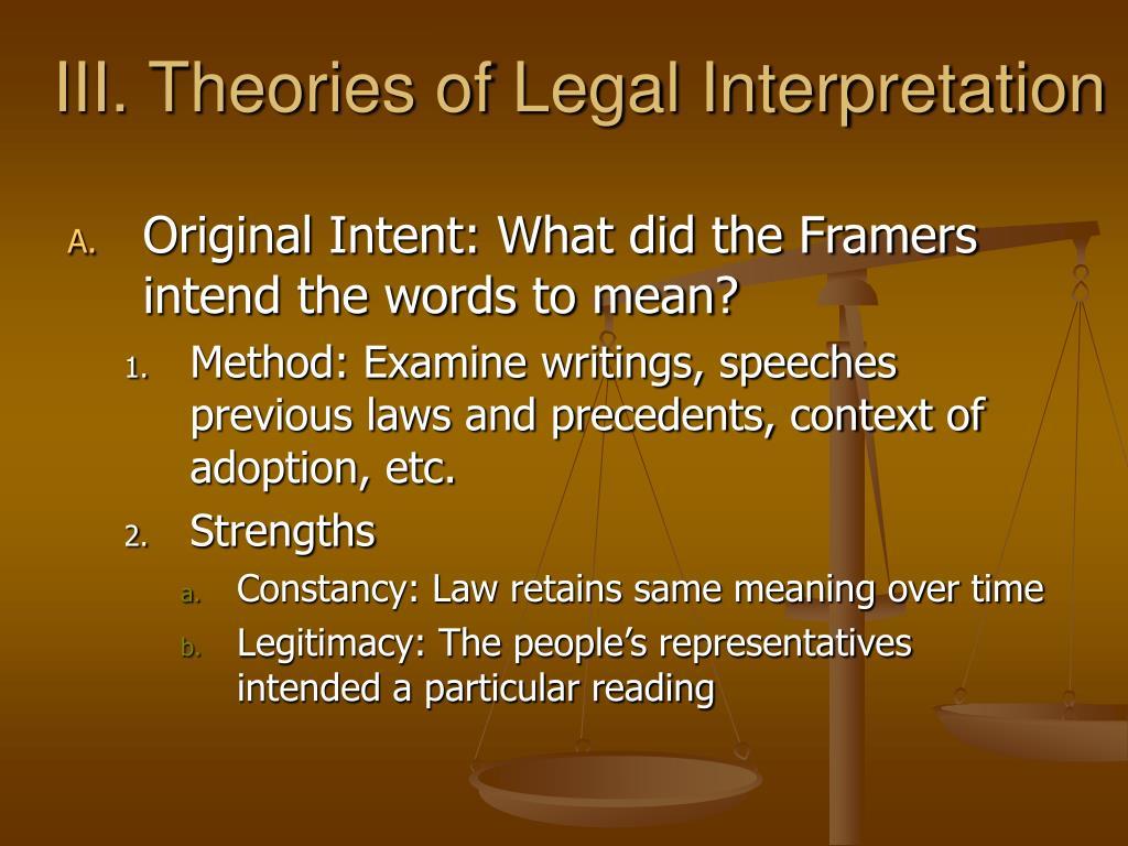 III. Theories of Legal Interpretation