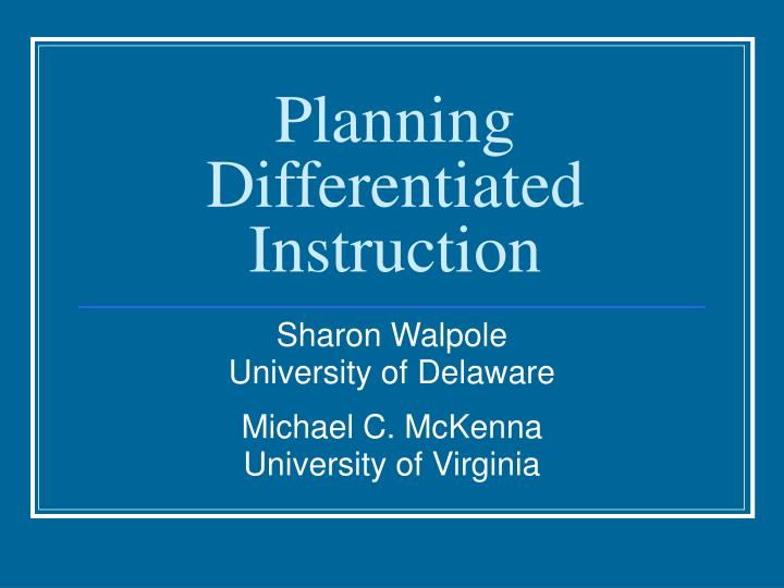 planning differentiated instruction n.