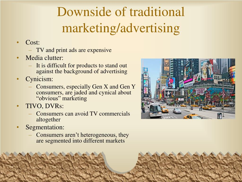 Downside of traditional marketing/advertising