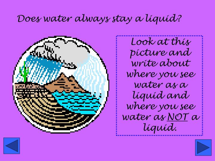 Does water always stay a liquid?