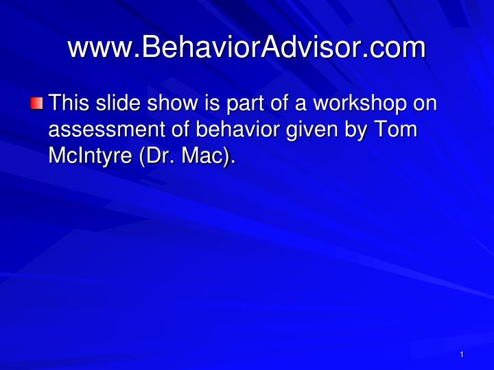 www behavioradvisor com n.