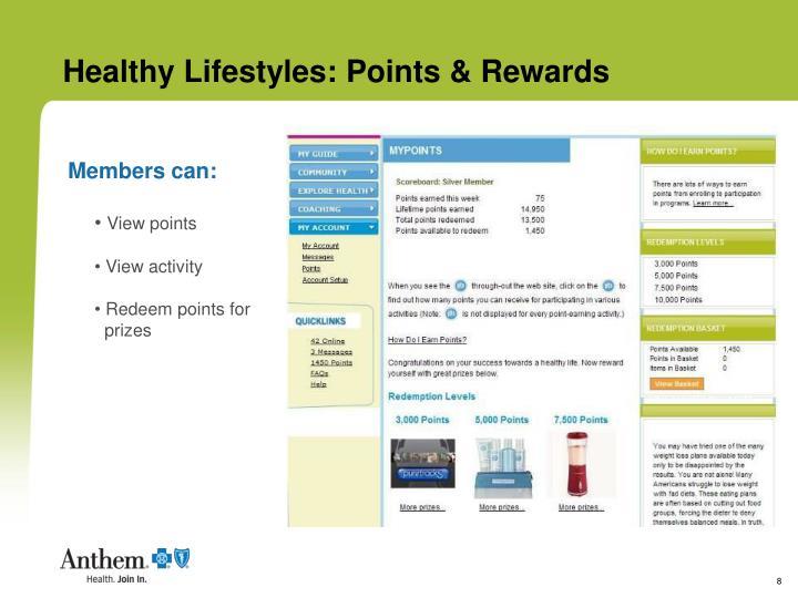 Healthy Lifestyles: Points & Rewards
