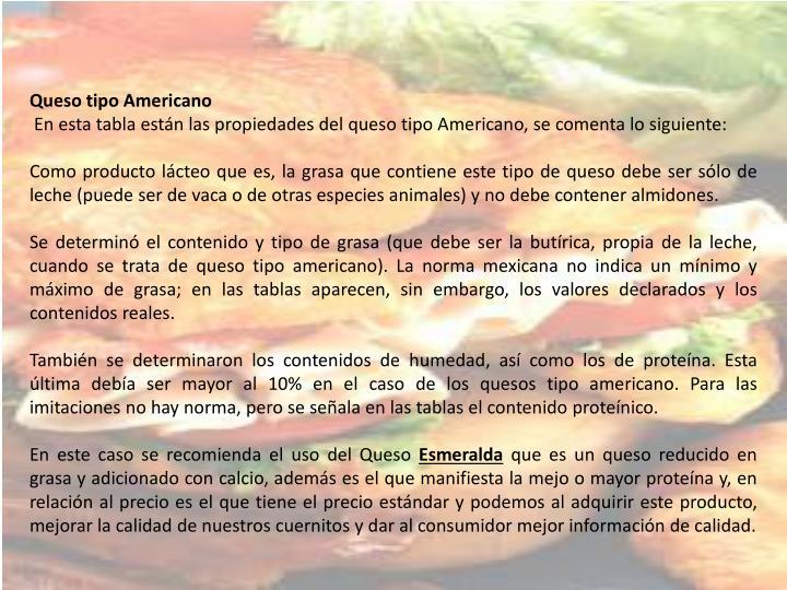 Queso tipo Americano