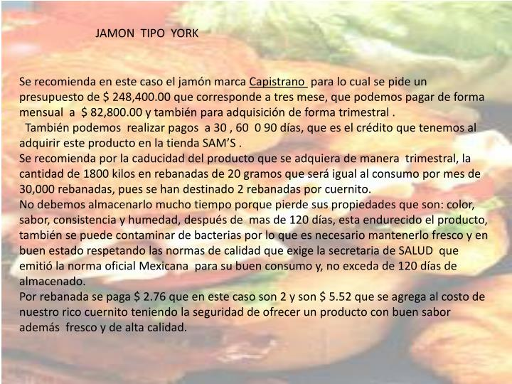 JAMON  TIPO  YORK