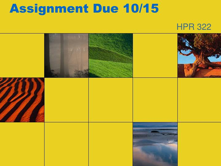 assignment due 10 15 n.
