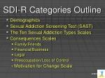 sdi r categories outline