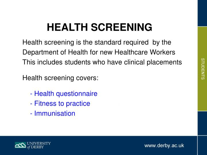 PPT - HEALTH SCREENING PowerPoint Presentation - ID:1404699
