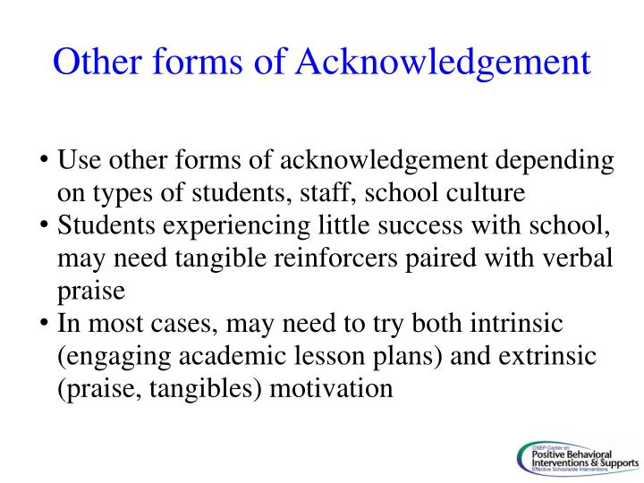 Other forms of Acknowledgement