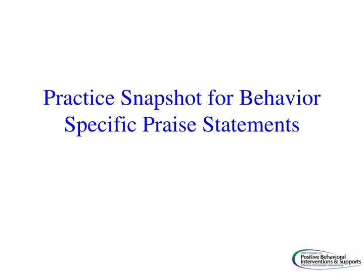 Practice Snapshot for Behavior Specific Praise Statements