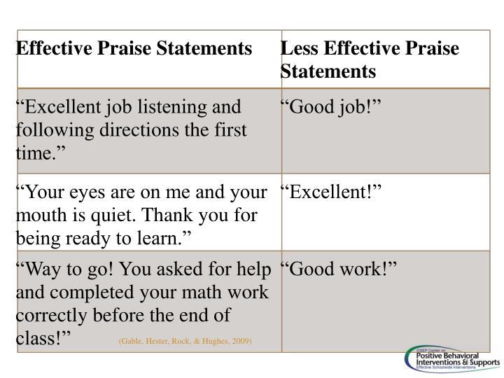 Effective Praise Statements