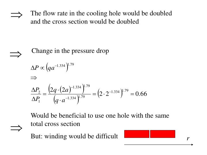 The flow rate in the cooling hole would be doubled