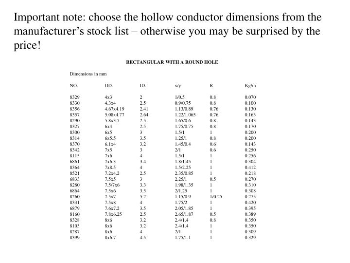 Important note: choose the hollow conductor dimensions from the manufacturer's stock list – otherwise you may be surprised by the price!