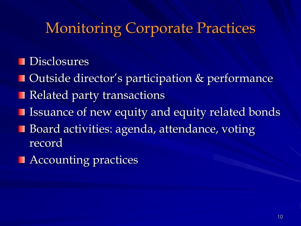 Monitoring Corporate Practices