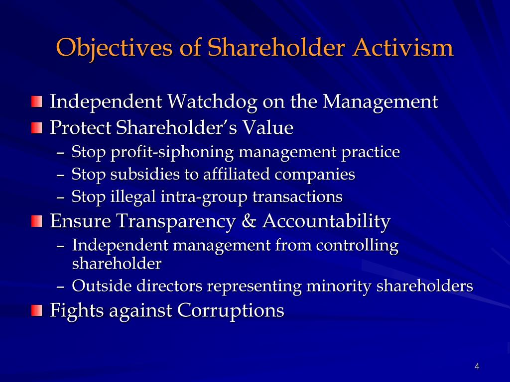 Objectives of Shareholder Activism