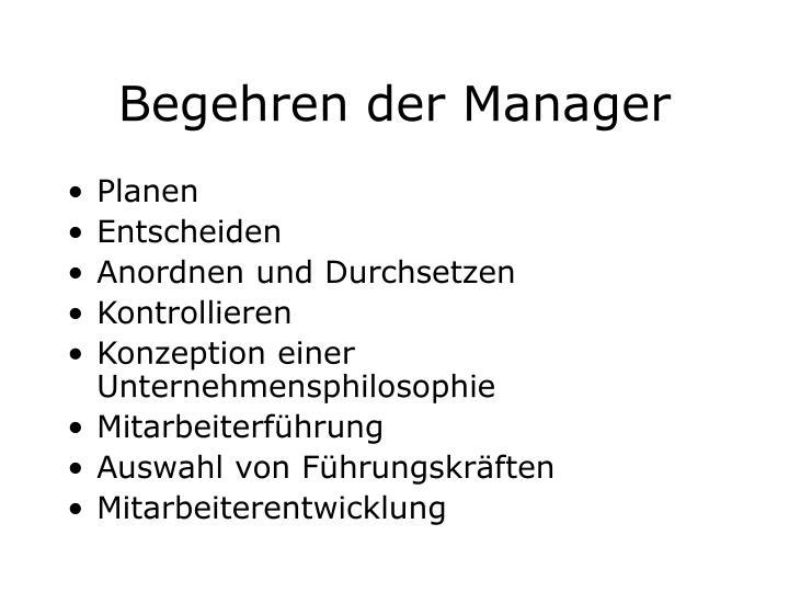 Begehren der Manager