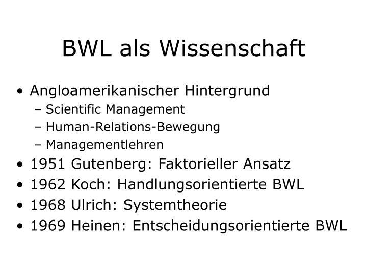 BWL als Wissenschaft
