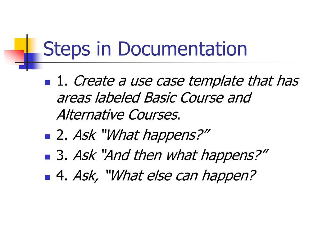 Steps in Documentation