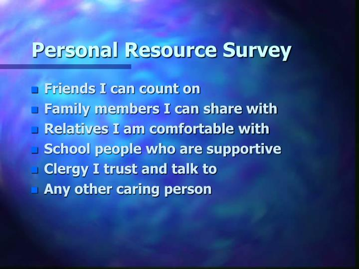 Personal Resource Survey