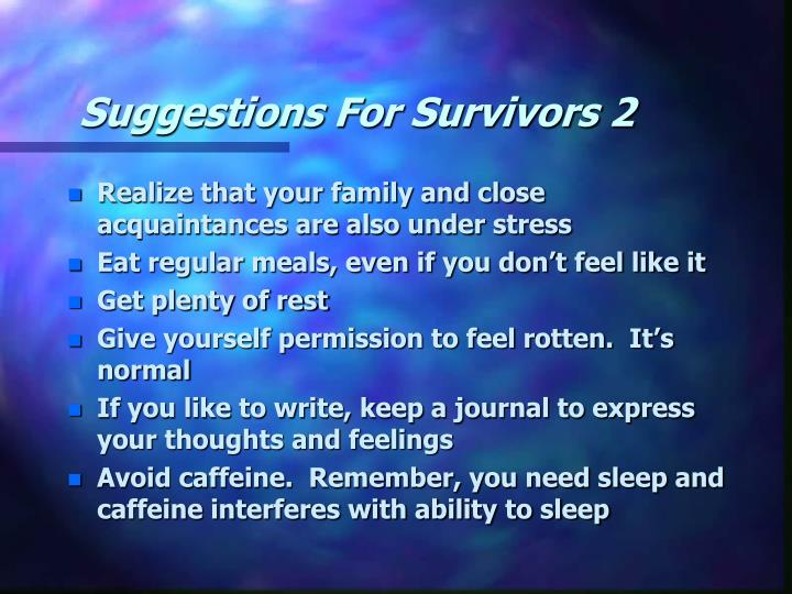 Suggestions For Survivors 2