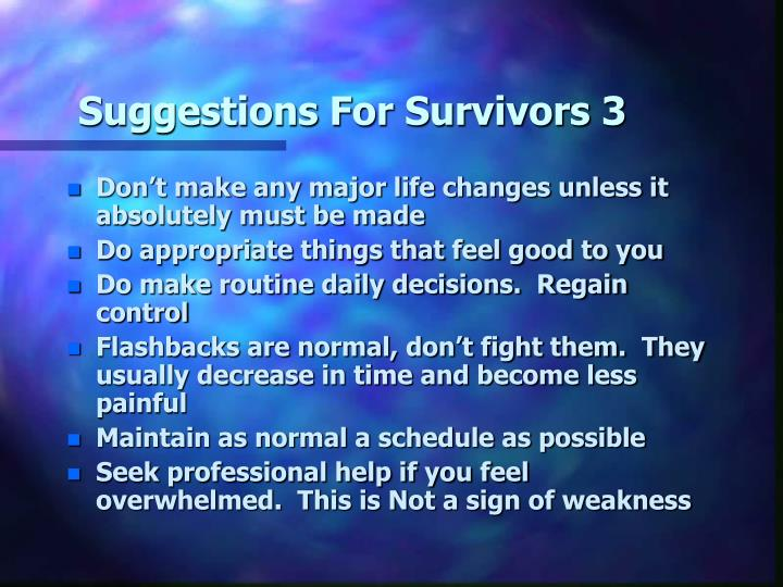Suggestions For Survivors 3