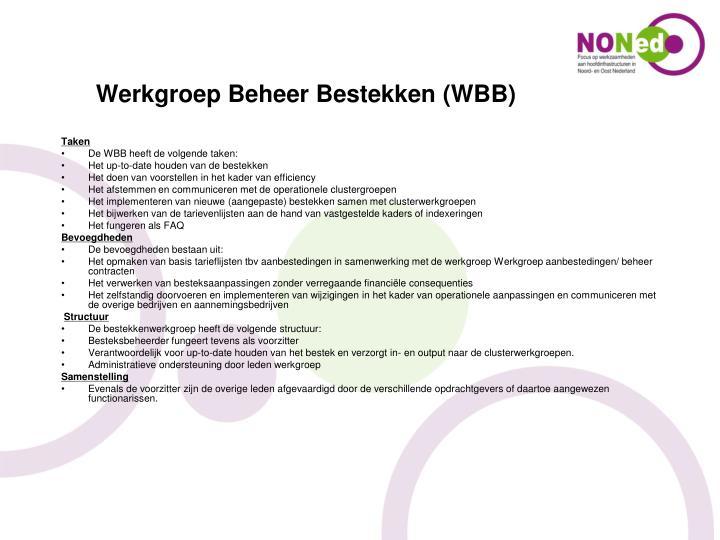 Werkgroep Beheer Bestekken (WBB)