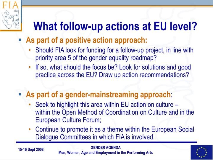 What follow-up actions at EU level?