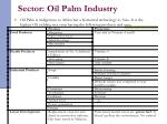 sector oil palm industry