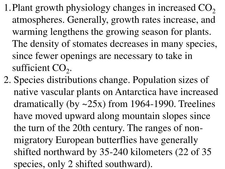 Plant growth physiology changes in increased CO