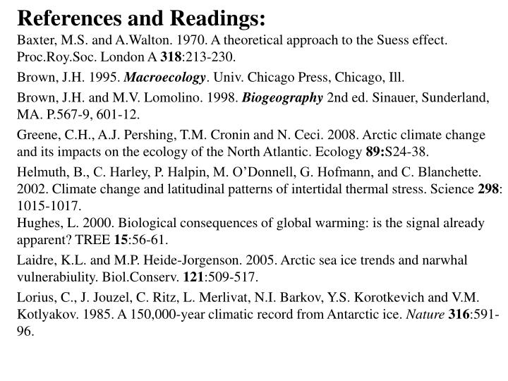 References and Readings: