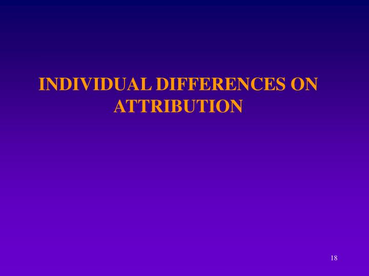 INDIVIDUAL DIFFERENCES ON ATTRIBUTION